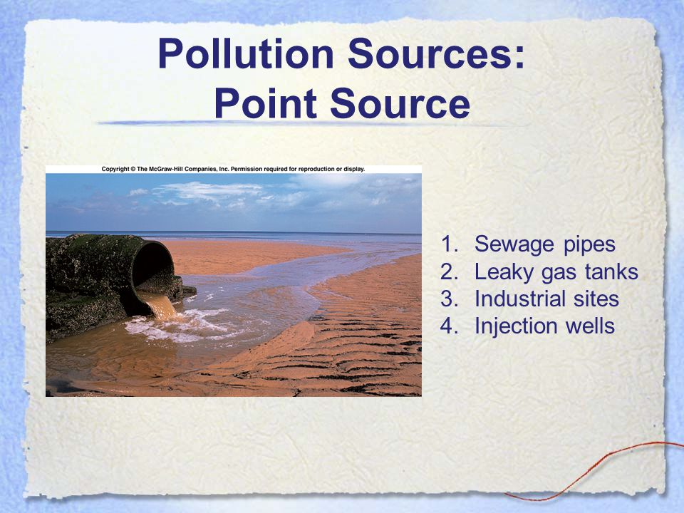 Pollution Sources: Point Source 1.Sewage pipes 2.Leaky gas tanks 3.Industrial sites 4.Injection wells
