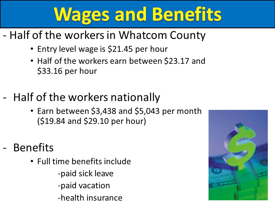 - Half of the workers in Whatcom County Entry level wage is $21.45 per hour Half of the workers earn between $23.17 and $33.16 per hour -Half of the workers nationally Earn between $3,438 and $5,043 per month ($19.84 and $29.10 per hour) -Benefits Full time benefits include -paid sick leave -paid vacation -health insurance