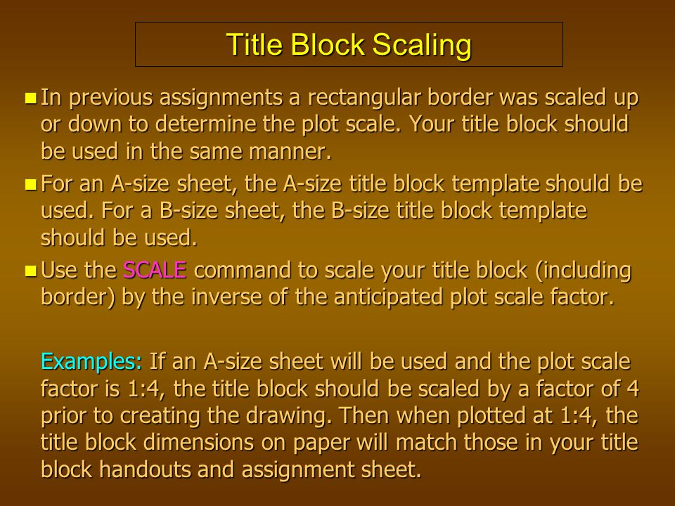 Title Block Scaling In previous assignments a rectangular border was scaled up or down to determine the plot scale. Your title block should be used in