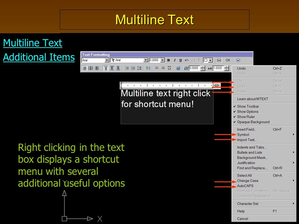 Multiline Text Additional Items Right clicking in the text box displays a shortcut menu with several additional useful options