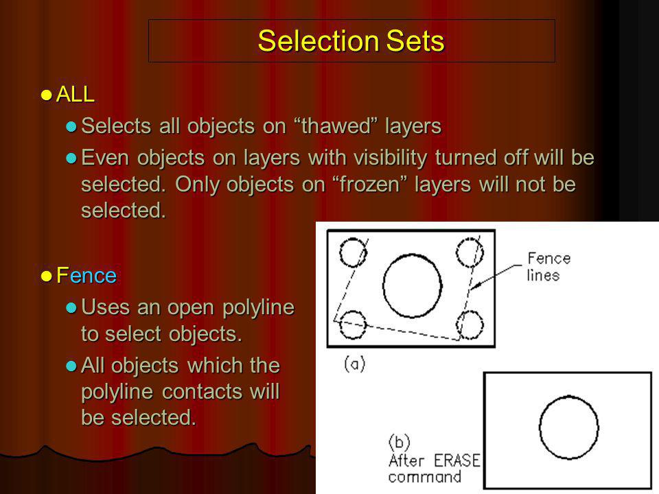 """Selection Sets ALL ALL Selects all objects on """"thawed"""" layers Selects all objects on """"thawed"""" layers Even objects on layers with visibility turned off"""