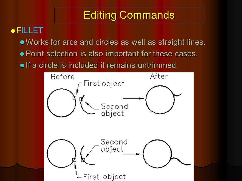 Editing Commands FILLET Works for arcs and circles as well as straight lines. Works for arcs and circles as well as straight lines. Point selection is