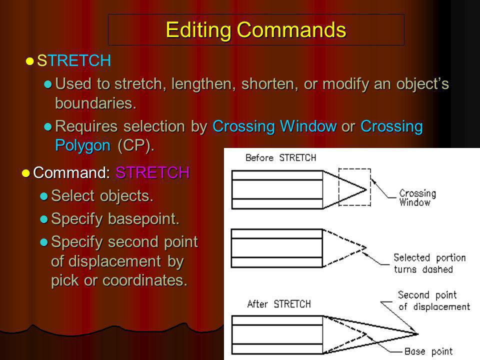 Editing Commands STRETCH Used to stretch, lengthen, shorten, or modify an object's boundaries. Used to stretch, lengthen, shorten, or modify an object