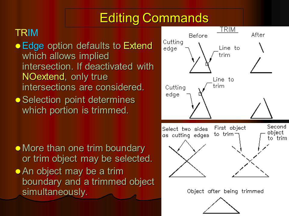 Editing Commands TRIM Edge option defaults to Extend which allows implied intersection. If deactivated with NOextend, only true intersections are cons