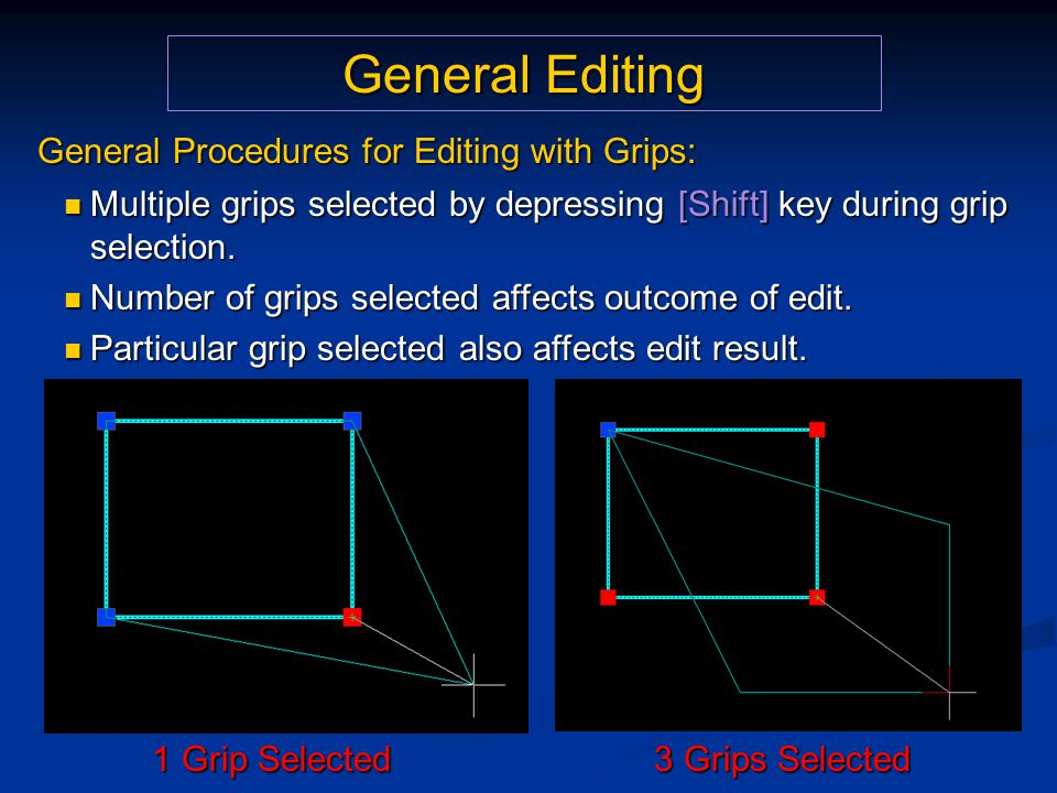 General Editing General Procedures for Editing with Grips: Multiple grips selected by depressing [Shift] key during grip selection. Multiple grips sel