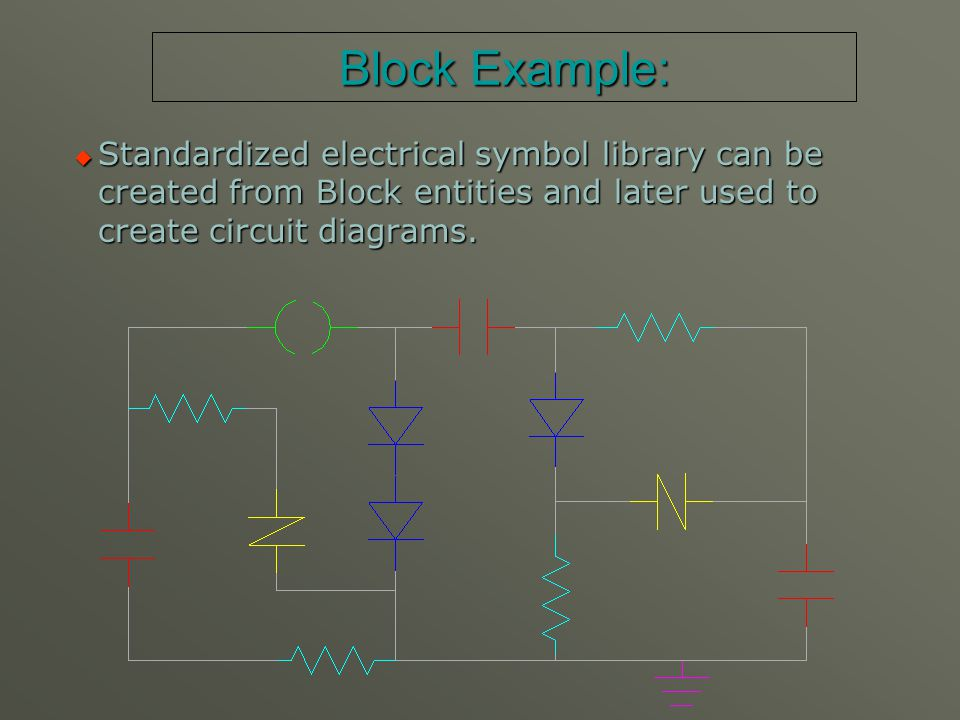 DEMO 1:  Load file Demo1.dwg.  Show example of electrical symbol Block insertion