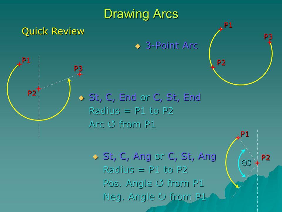 Drawing Arcs  3-Point Arc P1P2 P3 P1P2 P3  St, C, Ang or C, St, Ang Radius = P1 to P2 Pos.