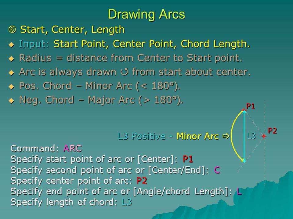 Drawing Arcs  Start, Center, Length  Input: Start Point, Center Point, Chord Length.