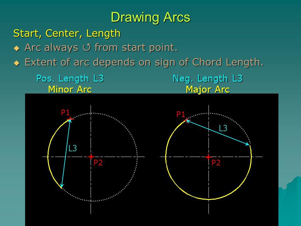 Drawing Arcs Start, Center, Length  Arc always  from start point.