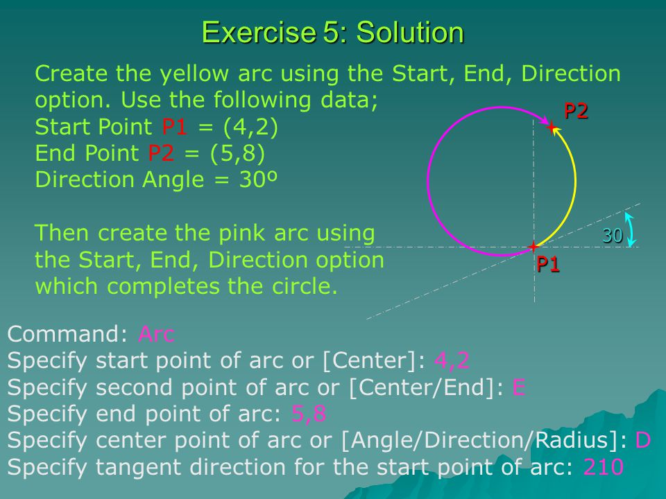 Exercise 5: Solution P1P230 Create the yellow arc using the Start, End, Direction option.