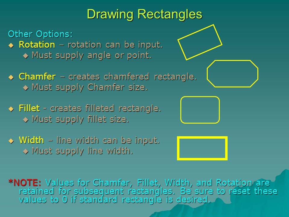 Other Options:  Rotation – rotation can be input.  Must supply angle or point.  Chamfer – creates chamfered rectangle.  Must supply Chamfer size.