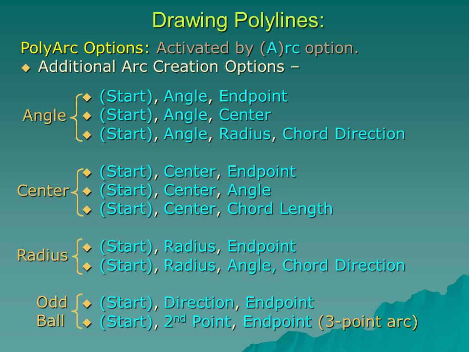 Drawing Polylines:  (Start), Angle, Endpoint  (Start), Angle, Center  (Start), Angle, Radius, Chord Direction  (Start), Center, Endpoint  (Start), Center, Angle  (Start), Center, Chord Length  (Start), Radius, Endpoint  (Start), Radius, Angle, Chord Direction  (Start), Direction, Endpoint  (Start), 2 nd Point, Endpoint (3-point arc) Angle Center Radius OddBall PolyArc Options: Activated by (A)rc option.