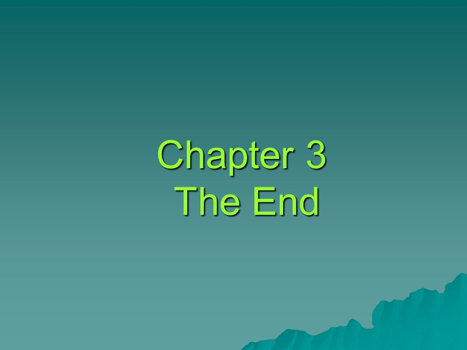 Chapter 3 The End