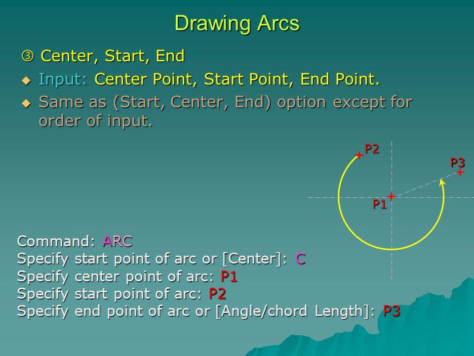 Drawing Arcs  Center, Start, End  Input: Center Point, Start Point, End Point.