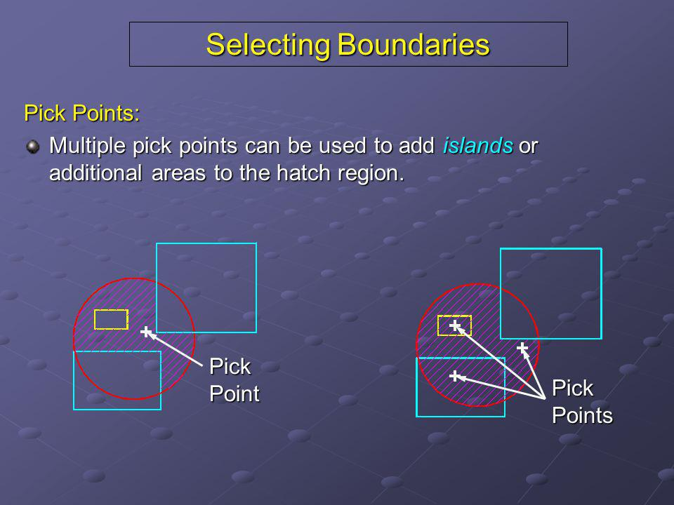 Selecting Boundaries Pick Points: Multiple pick points can be used to add islands or additional areas to the hatch region. PickPoint PickPoints