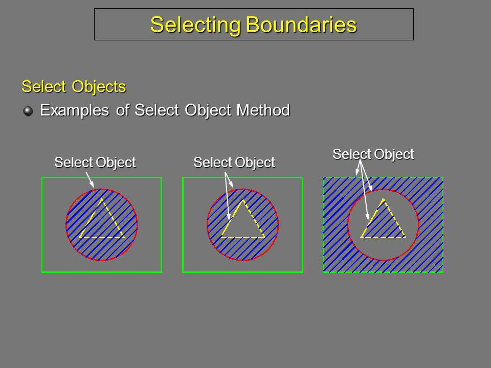 Selecting Boundaries Select Objects Examples of Select Object Method Select Object