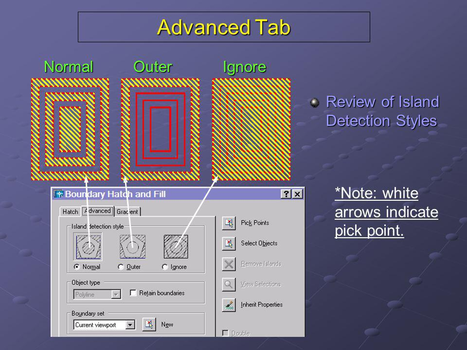 Advanced Tab Review of Island Detection Styles NormalOuterIgnore *Note: white arrows indicate pick point.