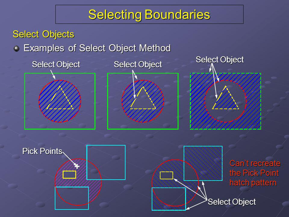 Selecting Boundaries Select Objects Examples of Select Object Method Select Object Pick Points Select Object Can't recreate the Pick Point hatch patte