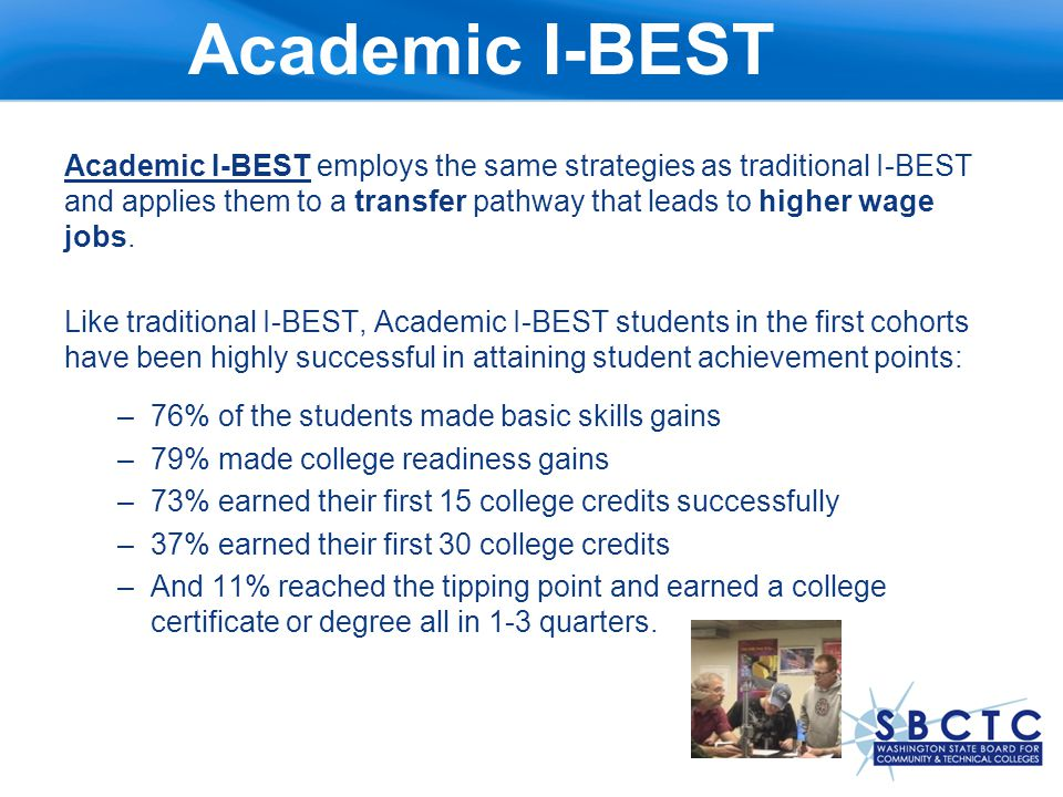 Early Results Prove Promising DEV ED I-BEST Students Accumulated an average of 42 college credits Had a retention rate of 75% 80% completed 1 or more levels of Dev.