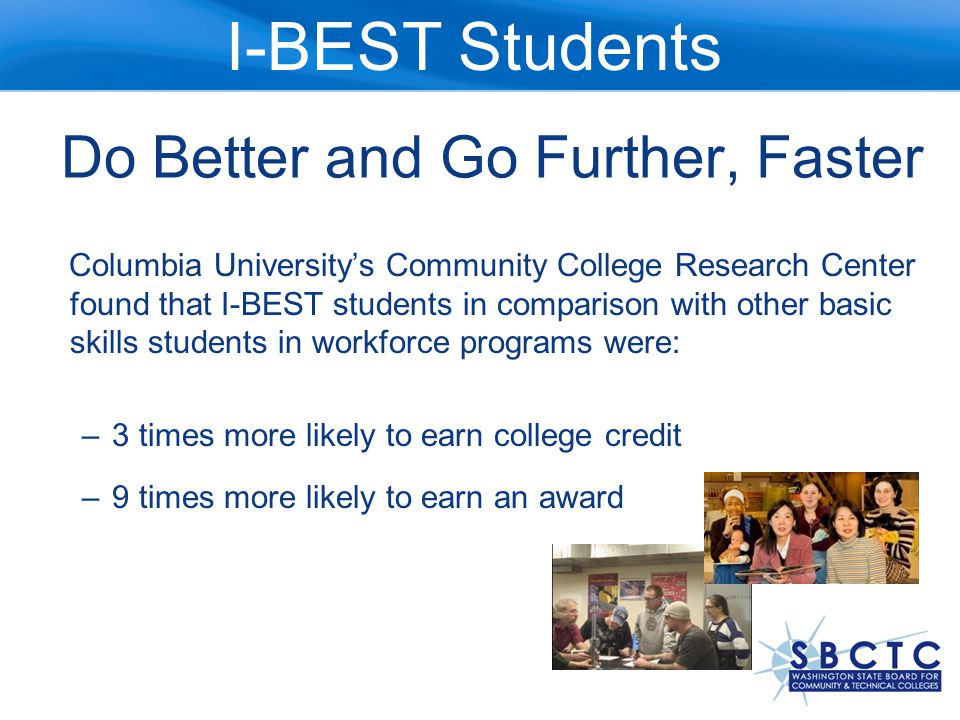 Before I-BEST ABE Students Didn't Continue Only 13% of ESL and less than 33% of ABE students continued on to college-level work.