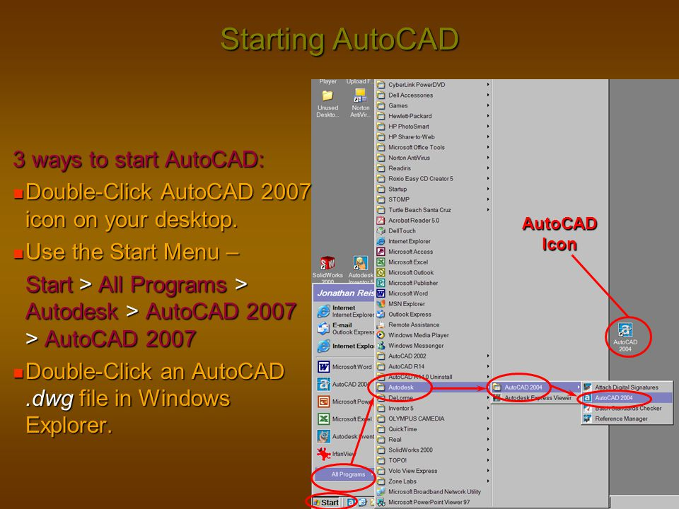Starting AutoCAD 3 ways to start AutoCAD: Double-Click AutoCAD 2007 icon on your desktop. Double-Click AutoCAD 2007 icon on your desktop. Use the Star