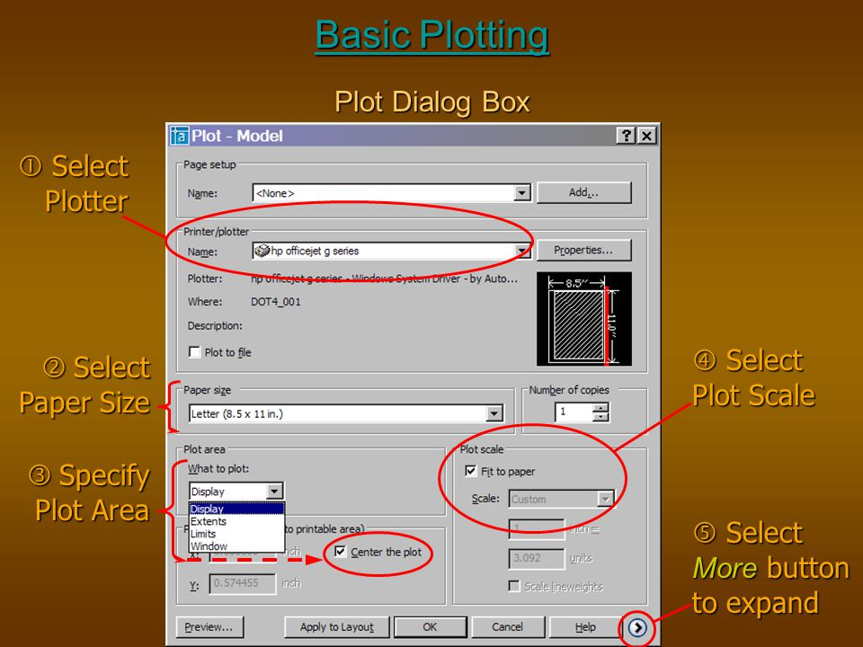 Basic Plotting Plot Dialog Box  Select Plotter  Specify Plot Area  Select Paper Size  Select Plot Scale  Select More button to expand