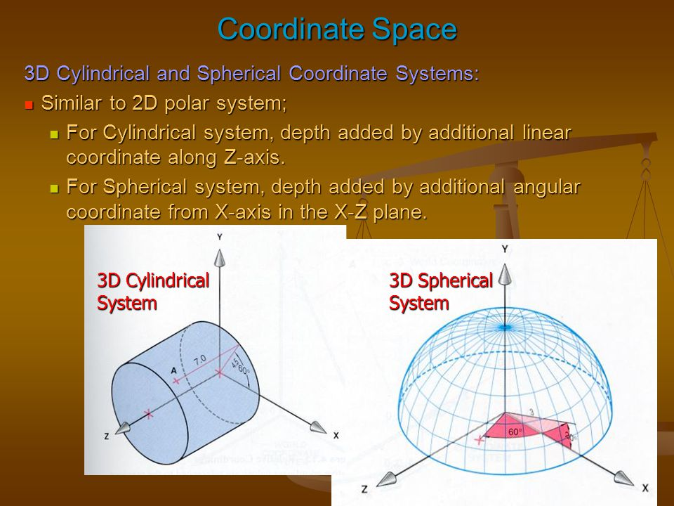 Coordinate Space 3D Cylindrical and Spherical Coordinate Systems: Similar to 2D polar system; Similar to 2D polar system; For Cylindrical system, dept