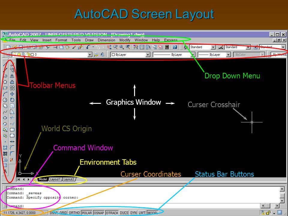 AutoCAD Screen Layout Drop Down Menu Toolbar Menus Status Bar Buttons Command Window Graphics Window Curser Crosshair Curser Coordinates Environment T