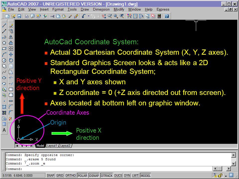 AutoCad Coordinate System: Actual 3D Cartesian Coordinate System (X, Y, Z axes). Actual 3D Cartesian Coordinate System (X, Y, Z axes). Standard Graphi