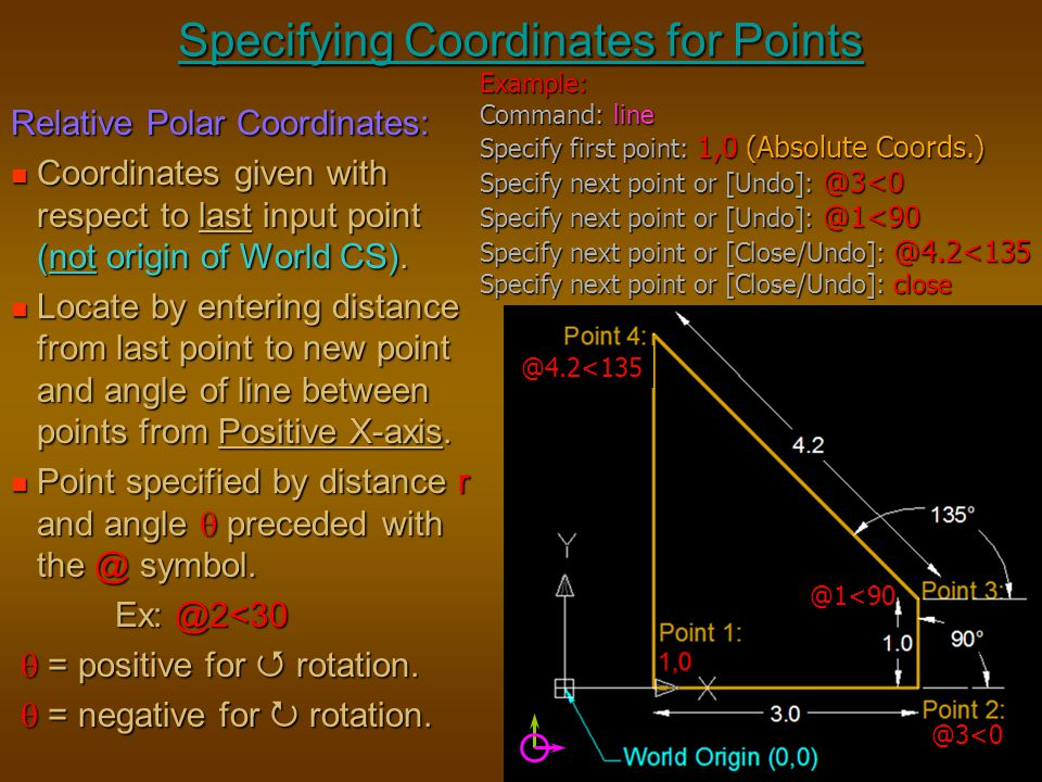 Specifying Coordinates for Points Relative Polar Coordinates: Coordinates given with respect to last input point (not origin of World CS). Coordinates