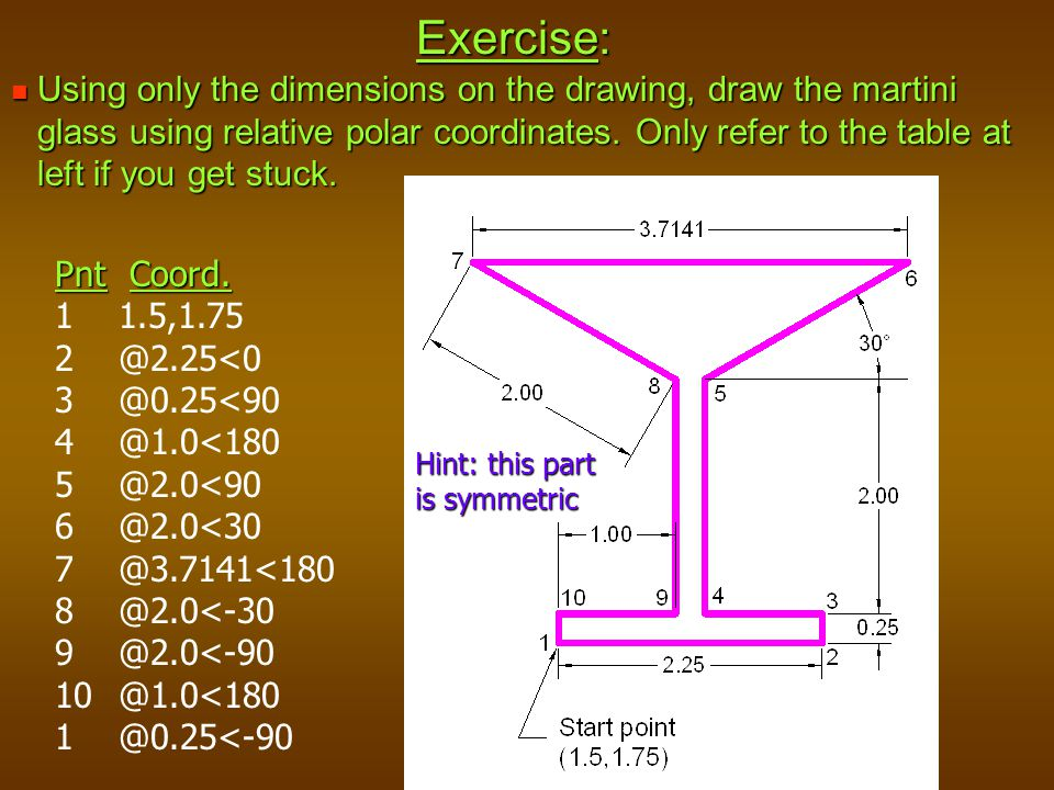 Exercise: Using only the dimensions on the drawing, draw the martini glass using relative polar coordinates. Only refer to the table at left if you ge