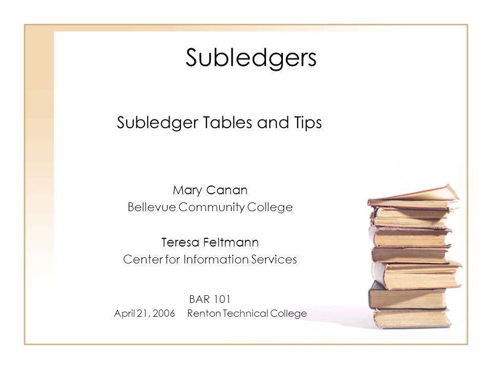 Subledgers Subledgers can be established for any general ledger to capture year-to-date and, optionally, biennium-to-date general ledger activity.