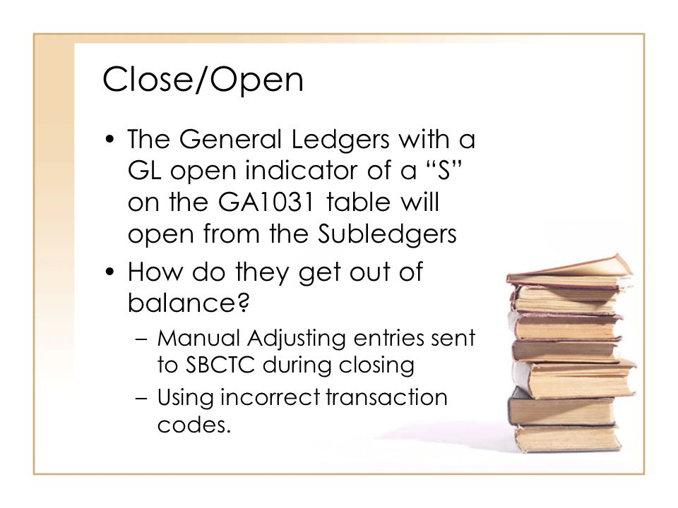 Close/Open The General Ledgers with a GL open indicator of a S on the GA1031 table will open from the Subledgers How do they get out of balance.
