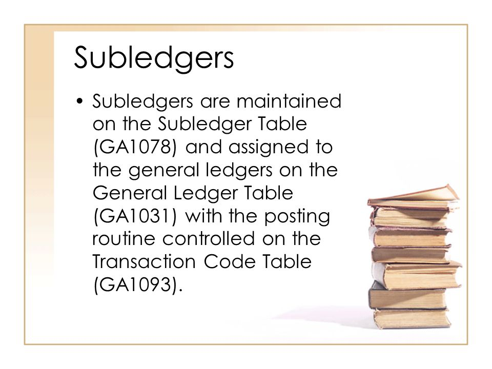 Subledgers Go to the CIS website for documentation on FMS Tables: http://www.cis.ctc.edu Applications- FMS FMS Document Index FMS Module &Functions FMS Control Tables