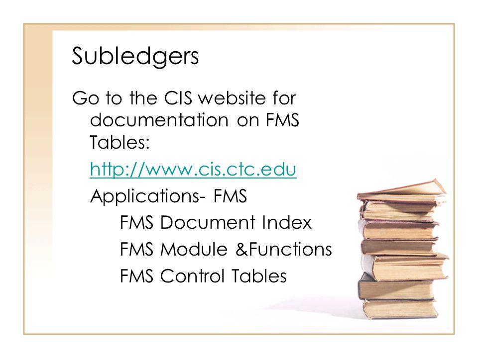 Jobs & Reports: See the CIS website for documentation on Job Scheduling: http://www.cis.ctc.edu Applications- CIS Job Scheduling Index FMS - Select job category BAxxxxJ BMxxxxJ FMxxxxJ GAxxxxJ MMxxxxJ PMxxxxJ FGxxxx
