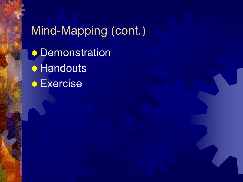 Mind-Mapping Mind-mapping is a way of freeing yourself from linear thinking and simply dumping your thoughts on paper without worrying about the weight or importance of any particular topic.