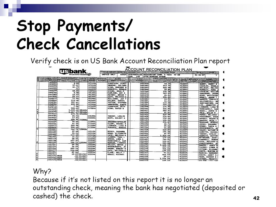 42 Stop Payments/ Check Cancellations Verify check is on US Bank Account Reconciliation Plan report Why.