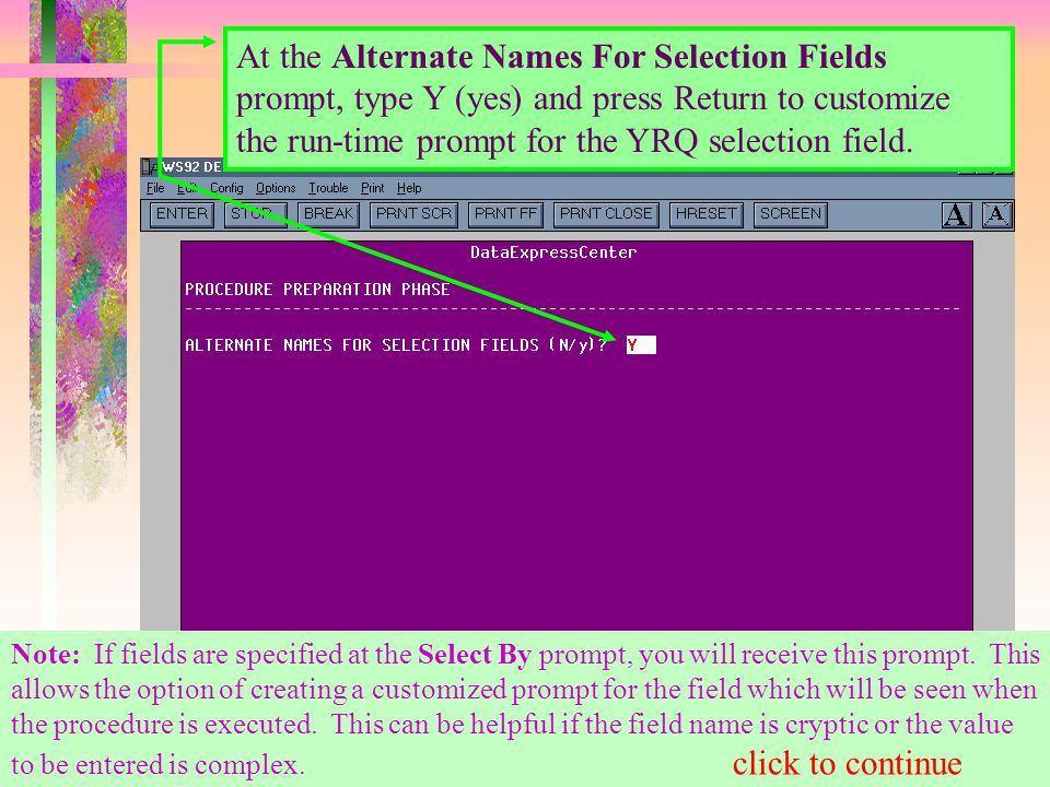 At the Alternate Names For Selection Fields prompt, type Y (yes) and press Return to customize the run-time prompt for the YRQ selection field.