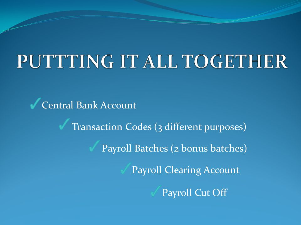 Central Bank Account Transaction Codes (3 different purposes) Payroll Batches (2 bonus batches) Payroll Clearing Account Payroll Cut Off