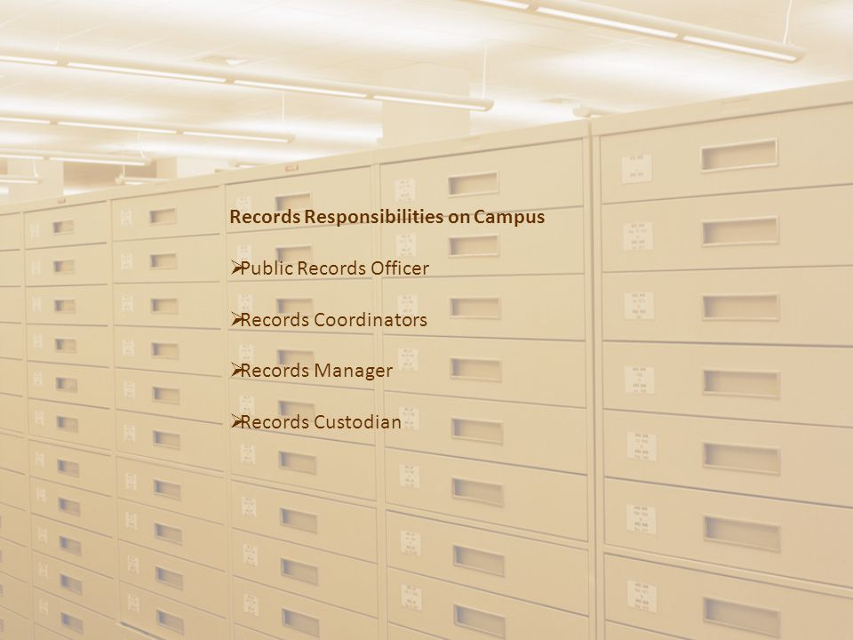 Records Responsibilities on Campus  Public Records Officer  Records Coordinators  Records Manager  Records Custodian