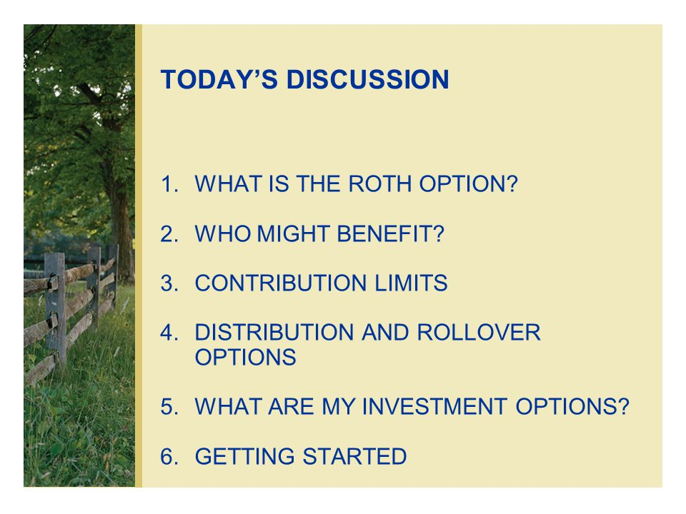TODAY'S DISCUSSION 1.WHAT IS THE ROTH OPTION. 2.WHO MIGHT BENEFIT.