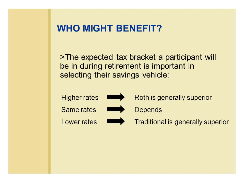 >The expected tax bracket a participant will be in during retirement is important in selecting their savings vehicle: WHO MIGHT BENEFIT.