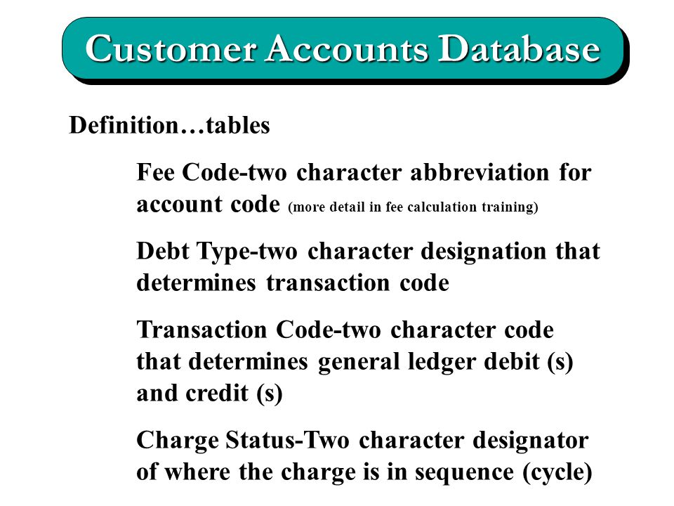 Customer Accounts Database Definition…tables Fee Code-two character abbreviation for account code (more detail in fee calculation training) Debt Type-two character designation that determines transaction code Transaction Code-two character code that determines general ledger debit (s) and credit (s) Charge Status-Two character designator of where the charge is in sequence (cycle)