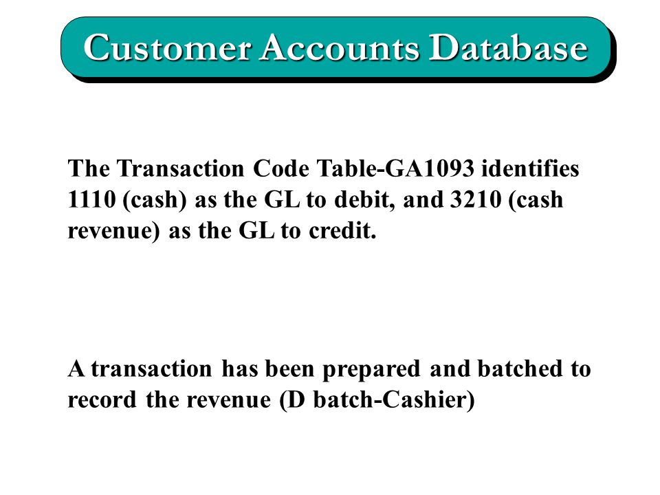 The Transaction Code Table-GA1093 identifies 1110 (cash) as the GL to debit, and 3210 (cash revenue) as the GL to credit.