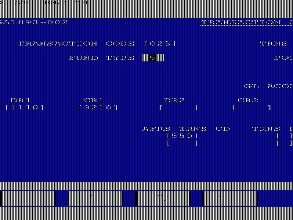 Customer Accounts Database Accounting Entries Transaction Code Table—GA1093