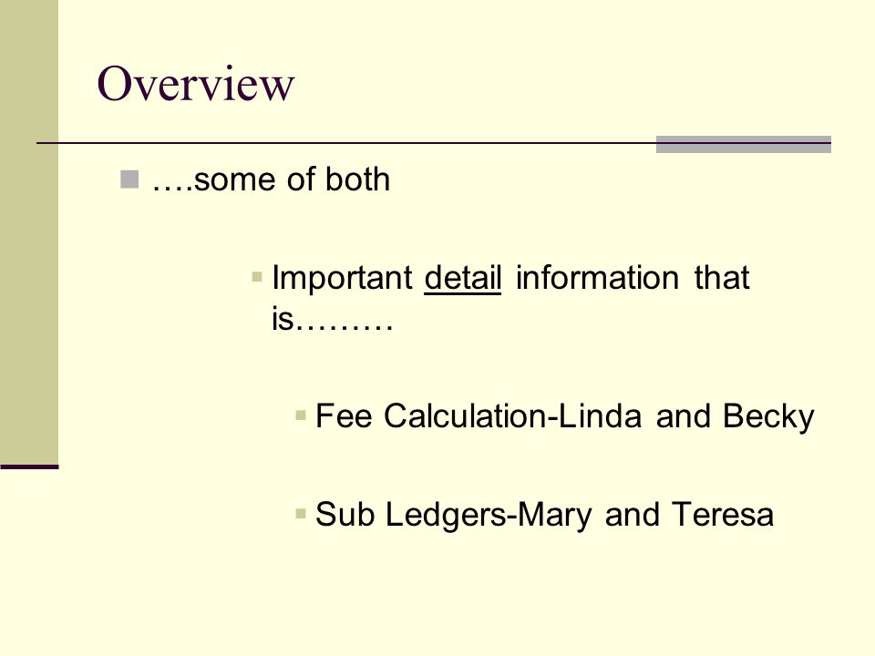 Overview ….some of both  Important detail information that is………  Fee Calculation-Linda and Becky  Sub Ledgers-Mary and Teresa