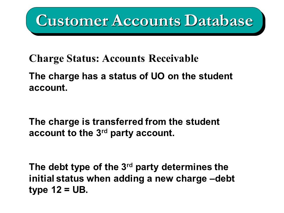 Customer Accounts Database Charge Status: Accounts Receivable The charge has a status of UO on the student account.
