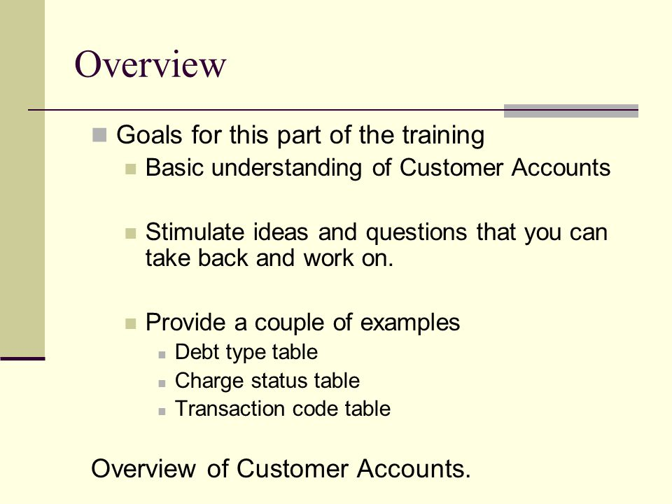 Overview Goals for this part of the training Basic understanding of Customer Accounts Stimulate ideas and questions that you can take back and work on.