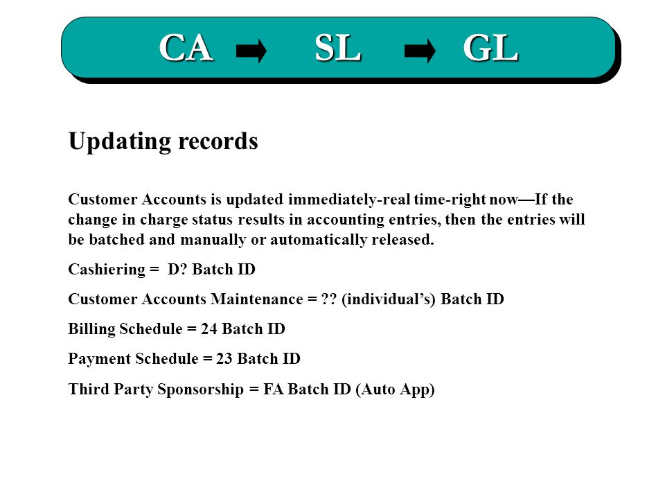 CA SL GL Updating records Customer Accounts is updated immediately-real time-right now—If the change in charge status results in accounting entries, then the entries will be batched and manually or automatically released.