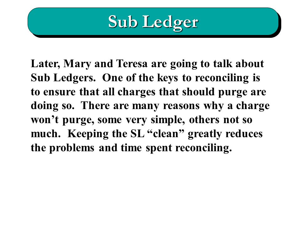 Sub Ledger Later, Mary and Teresa are going to talk about Sub Ledgers.